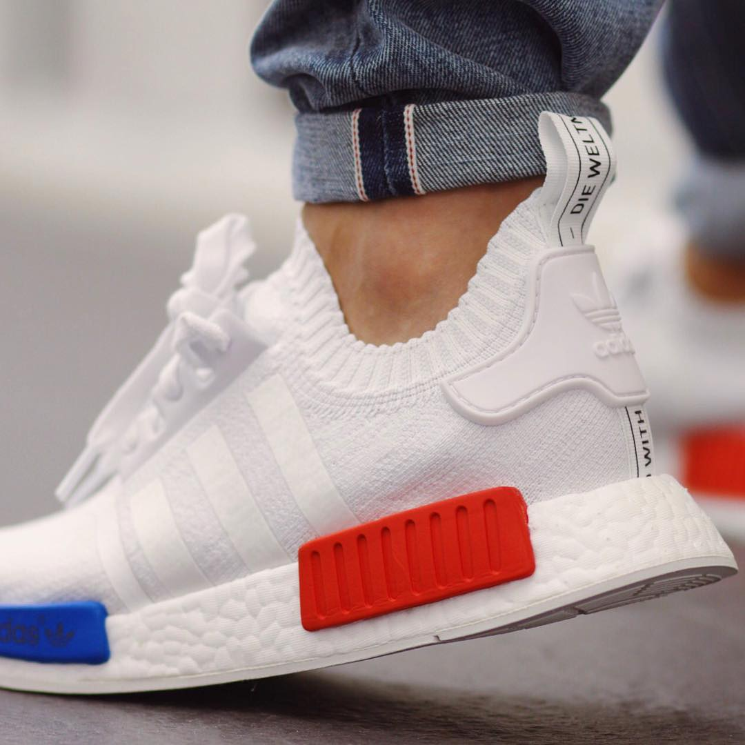 "4aeefdb78 ADIDAS NMD R1 PRIMEKNIT ""OG WHITE""ON-FEET"