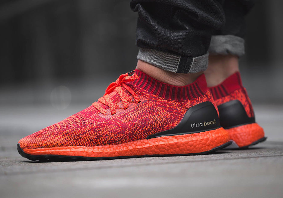 adidas Ultra Boost Uncaged Triple Red on foot