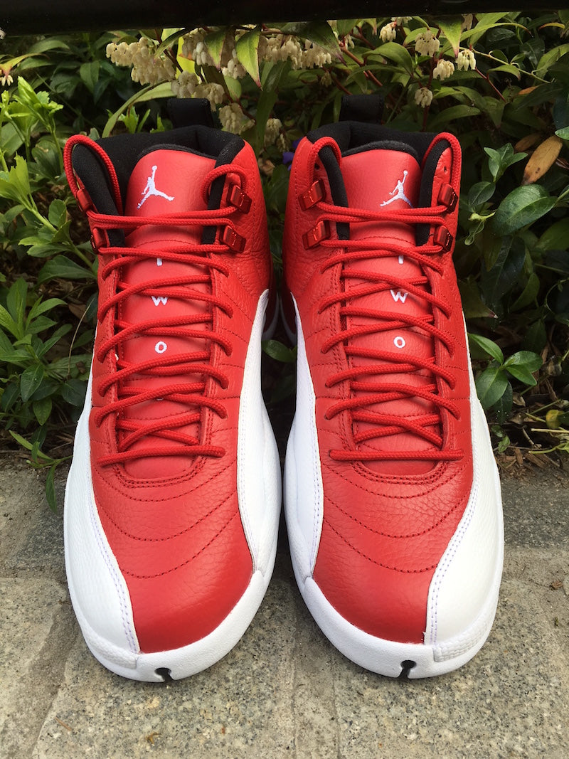gym red and white jordan 12