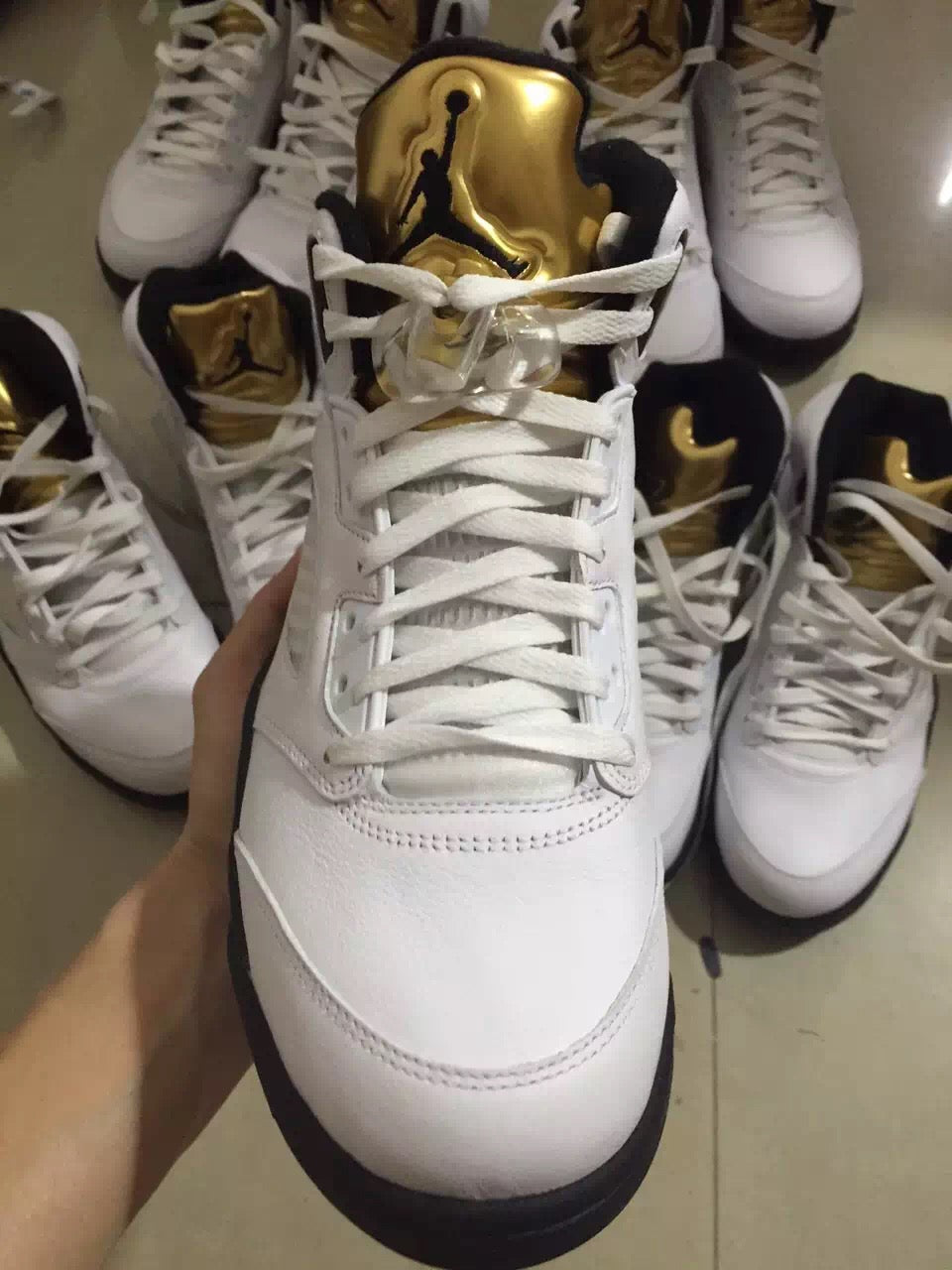 new style 8460d 100e3 Air Jordan 5 Olympic White Black Gold