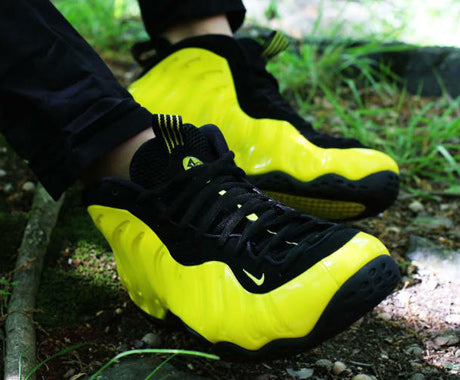 Streetwear blog sneaker release dates fashion news new shirts optic yellow nike air foamposite one on feet sciox Images