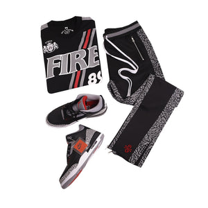 2018 Jordan Black Cement 3 Fire Soccer Jersey And Pants