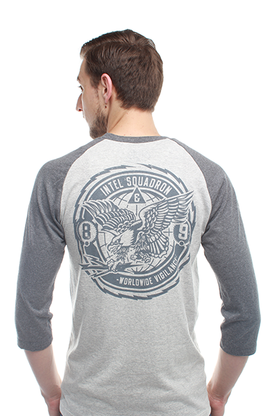 Intel Squad Cool Grey 3/4 Sleeve Raglan Baseball Shirt - 1