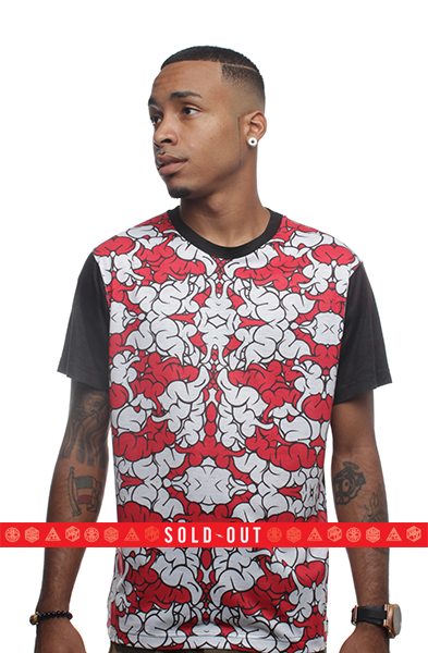 Brain Camo Fire Red Sublimated T Shirt - 1