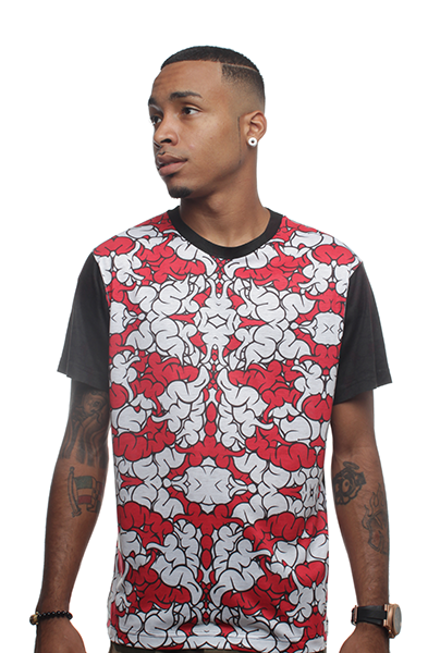 Brain Camo Fire Red Sublimated T Shirt - 2