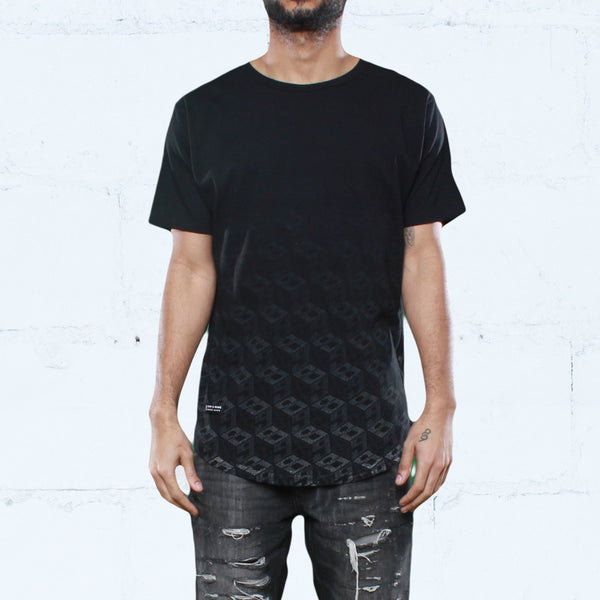 Trenchyard Curved Hem T Shirt Black