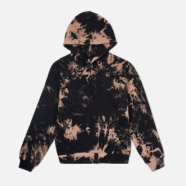 Chenille Bleached Cozy Hooded Sweatshirt Black