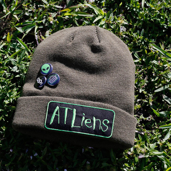 Atliens Custom Hip Hop Patch Beanie with Pins Army