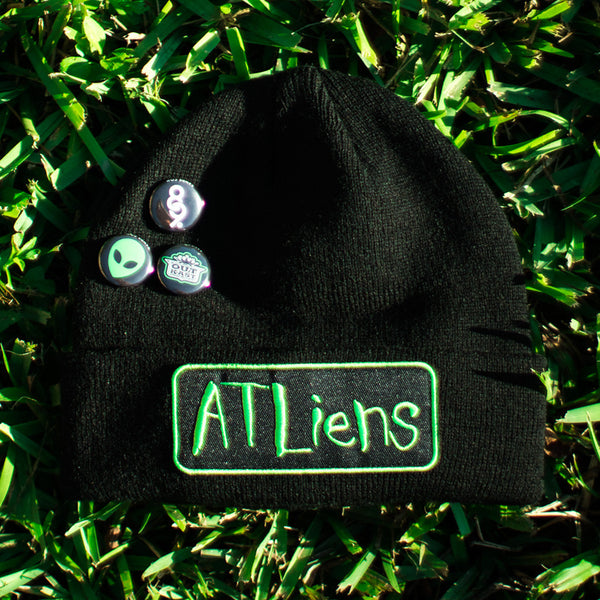 Atliens Custom Hip Hop Patch Beanie with Pins Black