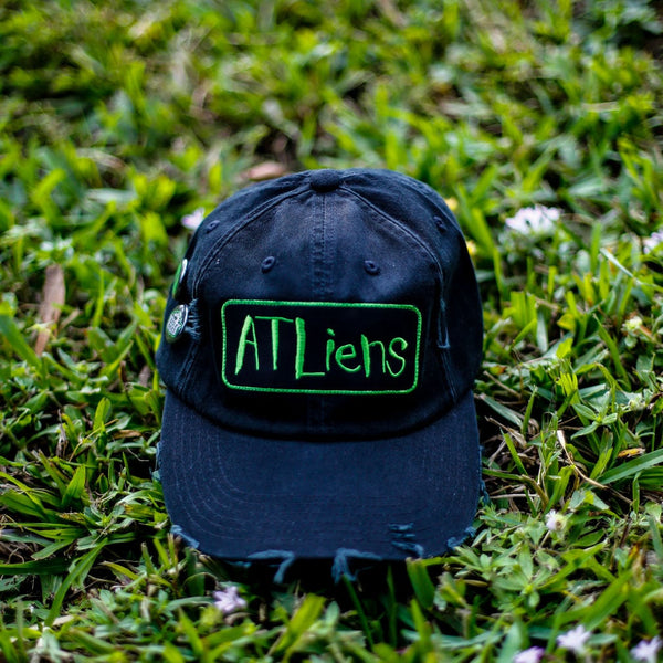 Atliens Distressed Vintage Hip Hop Hat Black front
