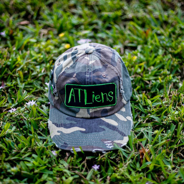 Atliens Distressed Vintage Hip Hop Hat Camo