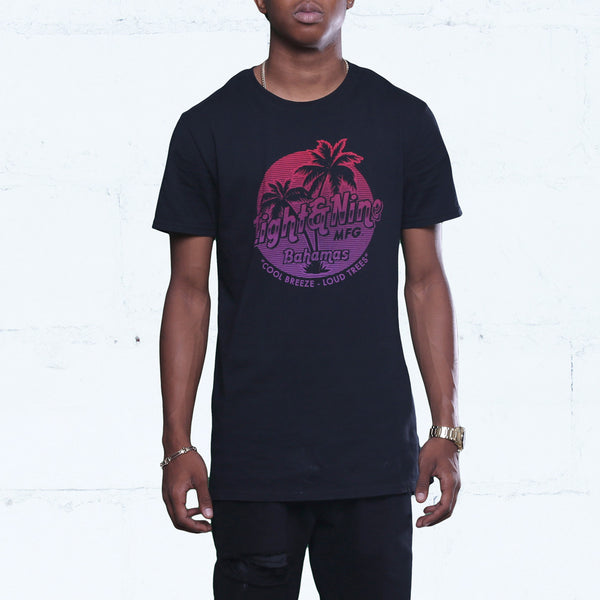 Bahamas Long Line T Shirt Black