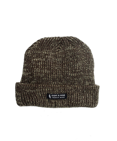 Ribbed Dock Beanie Brown Marled