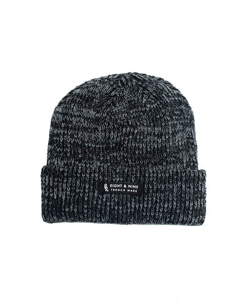 Ribbed Dock Beanie Black Marled