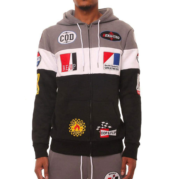 Benjamins Pit Crew Hoodie Black Paneled Zip Up