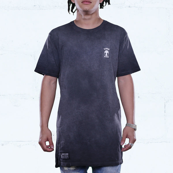 Black Antique Wash Elongated T Shirt
