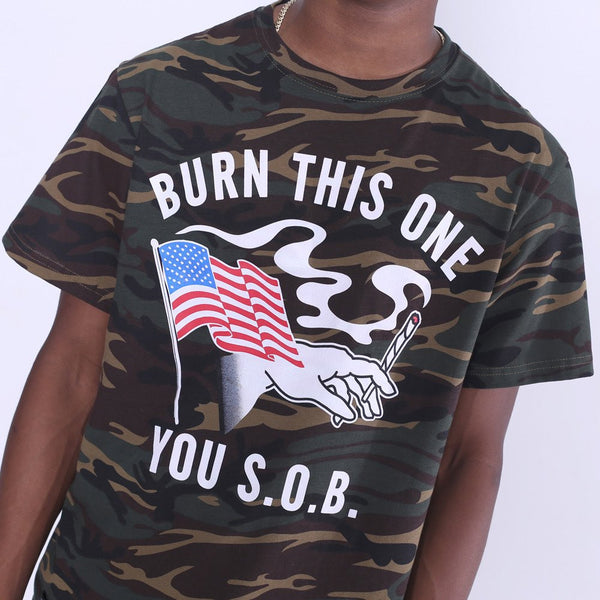 Burn One Camouflage T Shirt close up