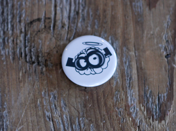 White Brain Button Pin