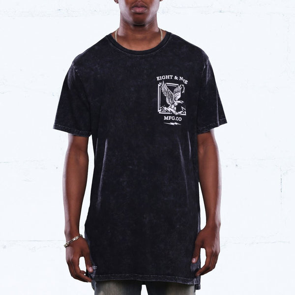 CLOCKIN ELONGATED MINERAL WASH T SHIRT BLACK (1)