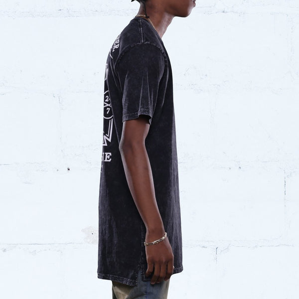 CLOCKIN ELONGATED MINERAL WASH T SHIRT SIDE BLACK
