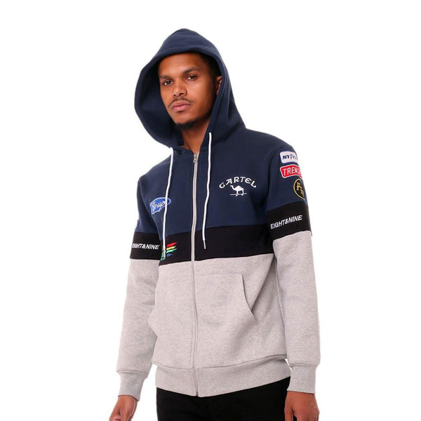 Cartel F1 Racing Pit Crew Zip Up Hoodie Navy