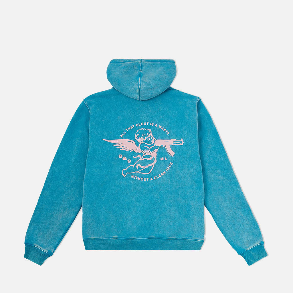 Clout Angel Pullover Hoodie Turquoise