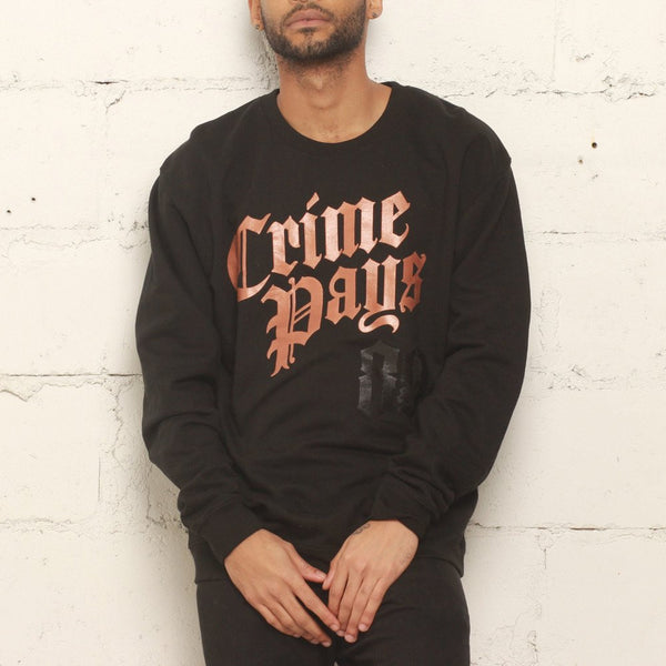 Crime pays crewneck metallic copper (1)