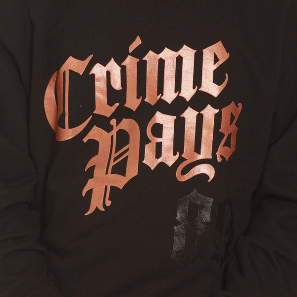 Crime pays crewneck metallic copper close up