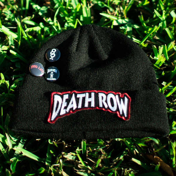Death Row Custom Hip Hop Patch Beanie with Pins Black