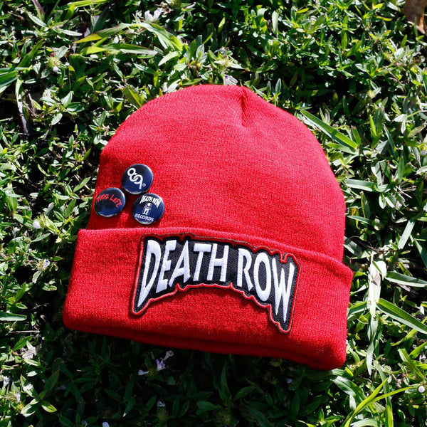 Death Row Custom Hip Hop Patch Beanie with Pins Red