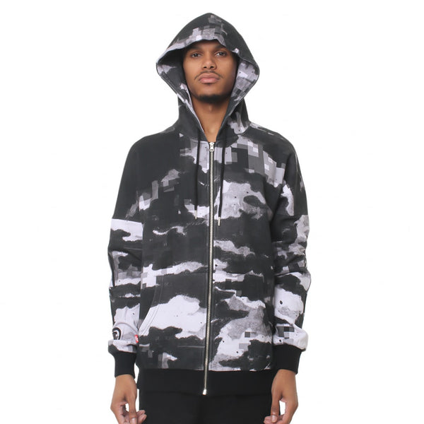 Digi Snow Camo Pullover Hooded Sweatshirt