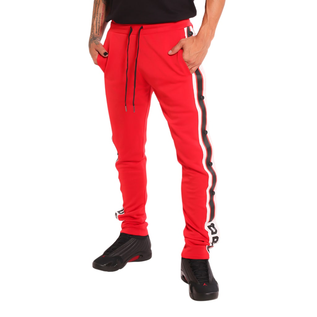 Drip Harder Tear Away Track Pants Red