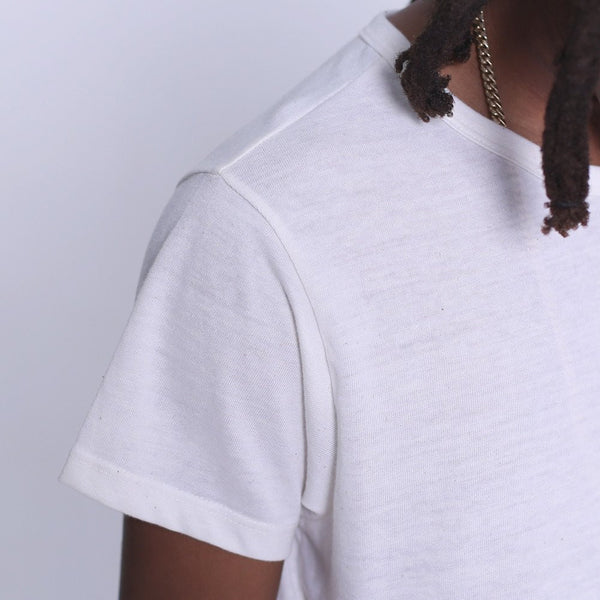 Eco White Tri-Blend T Shirt Collar