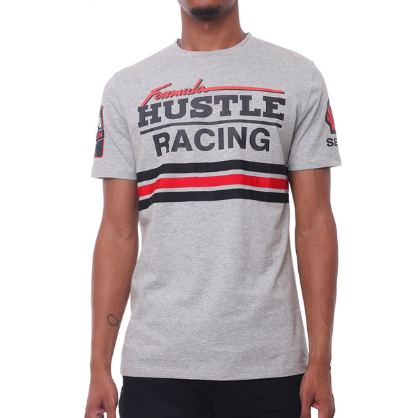 F1 Hustle Striped Racing T Shirt Heather