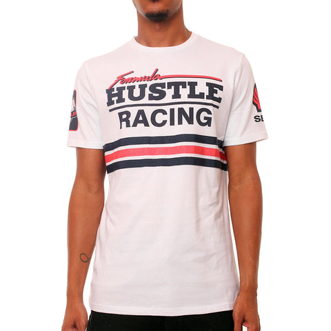 F1 Hustle Striped Racing T Shirt White