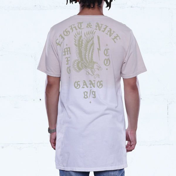 Gang burlap elongated dip dye t shirt back