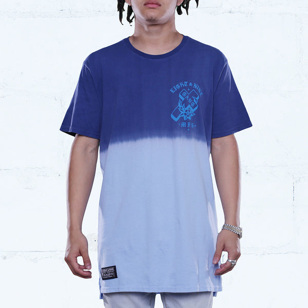 Gang Cerulean Elongated Dip Dye T Shirt