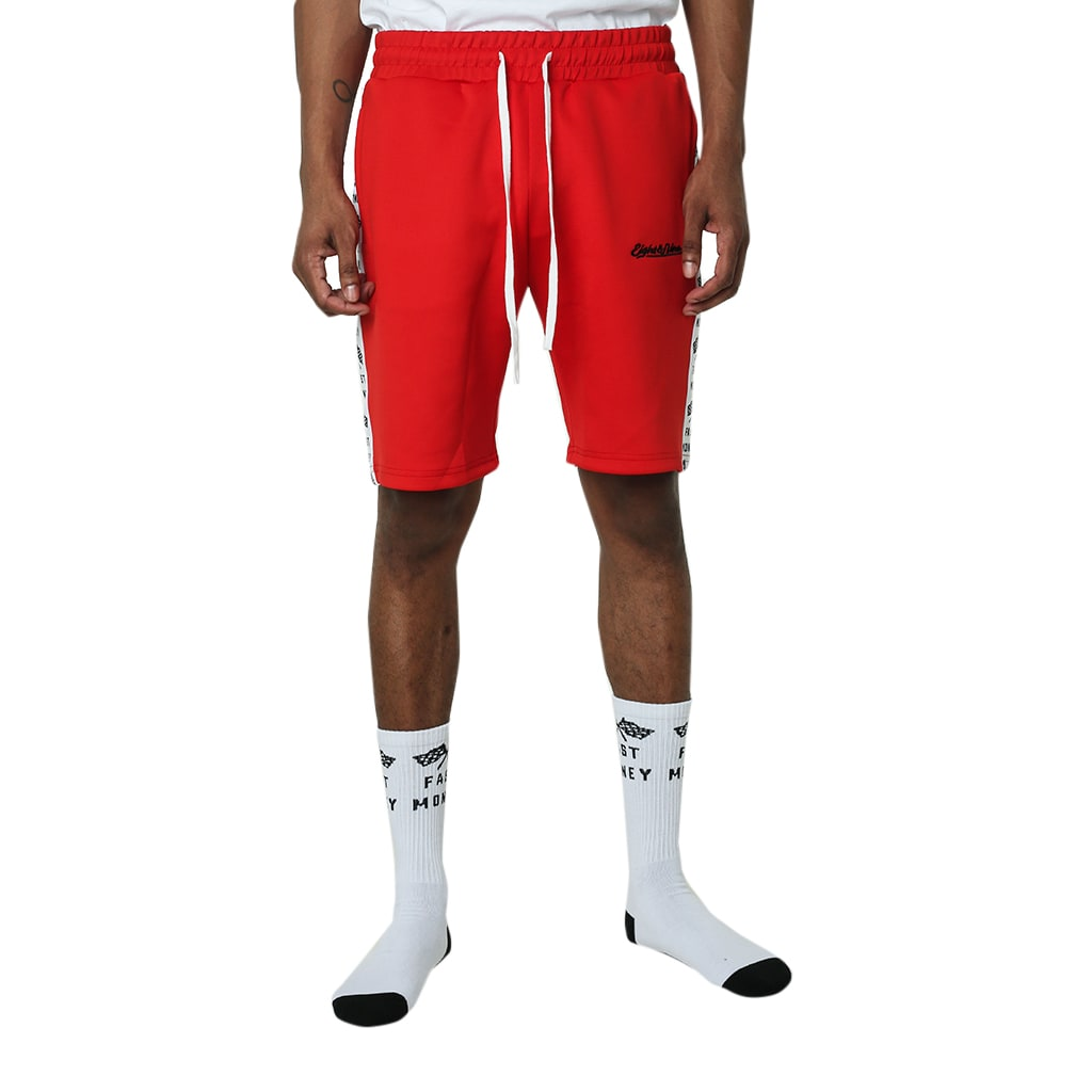 Get Money Striped Track Shorts Red