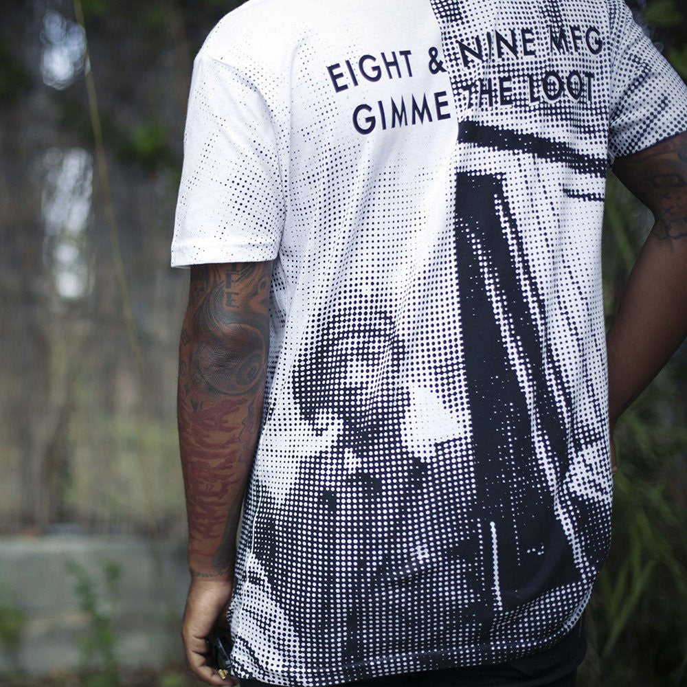 0c30491cb5bd ... Gimmie the loot pixel t shirt white back ...