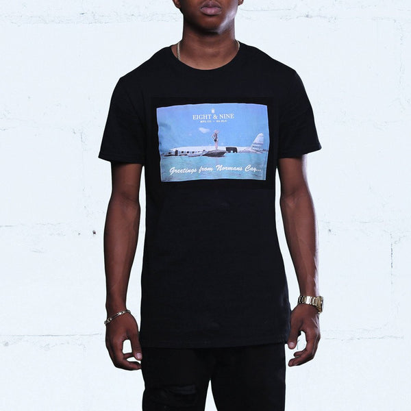 Greetings Long Line T Shirt Black
