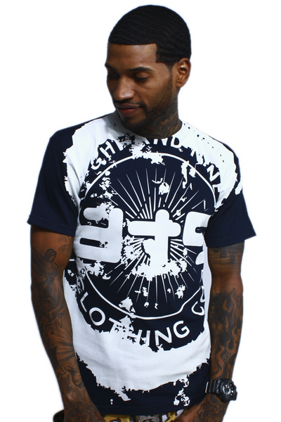 All Over Grunge Navy Logo T Shirt - 1