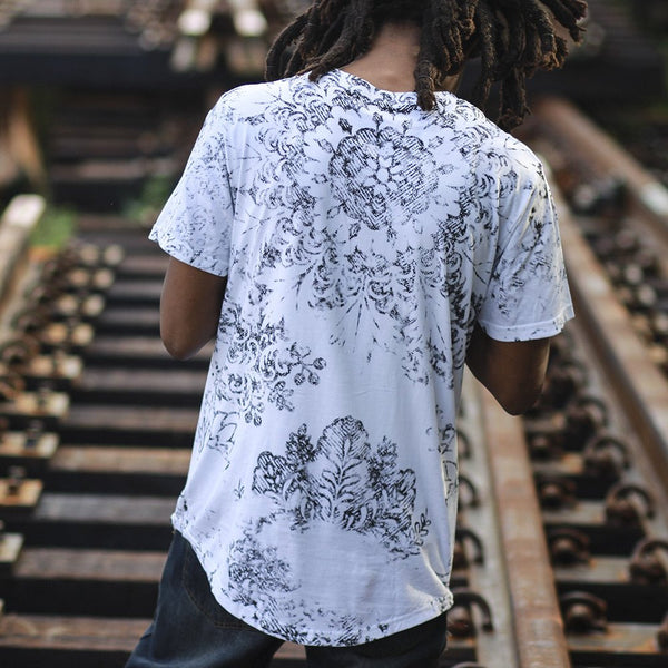Hash curved hem t shirt white back
