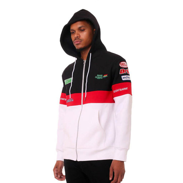 Hustle Racing F1 Pit Crew Zip Up Hoodie Black