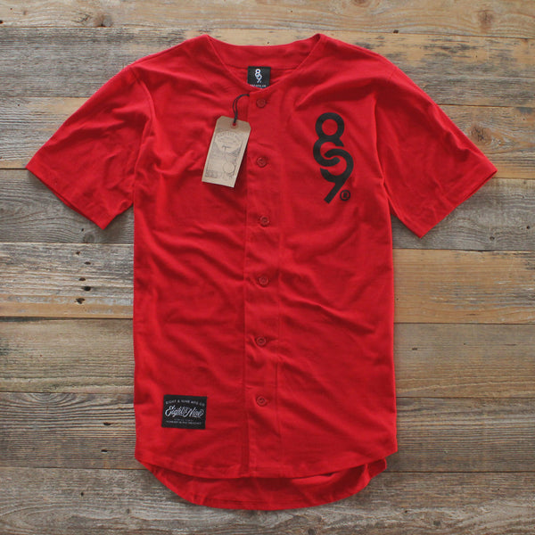 Keys Cotton Baseball Jersey Red