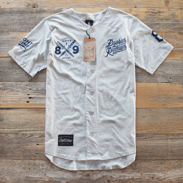 Doobious Ruffians Grey Cotton Baseball Jersey