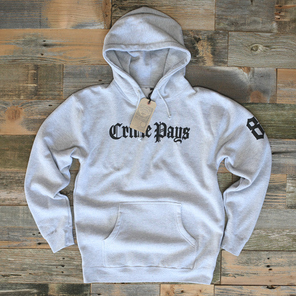 Crime Pays Hooded Sweatshirt Grey