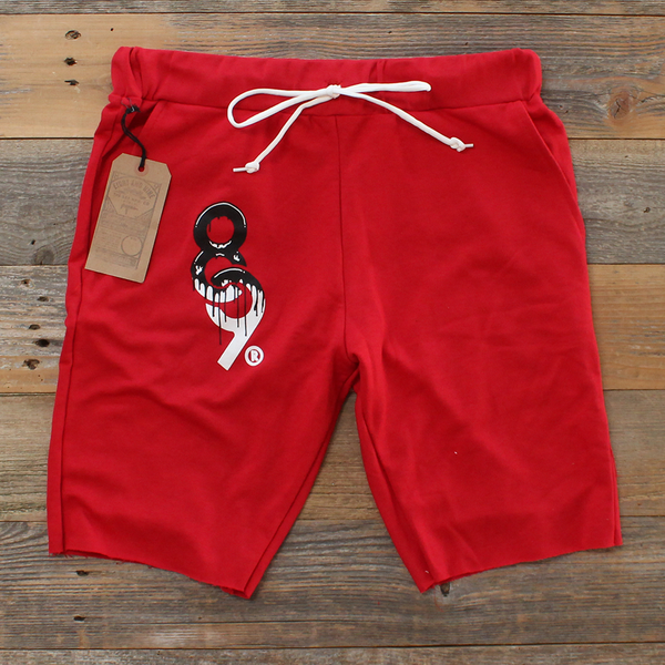 Drip Keys Cut Off Terry Shorts Red - 2