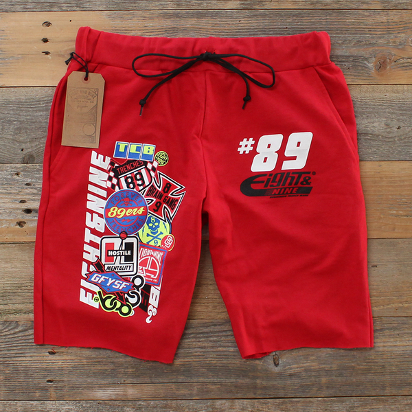 Garage Built Cut Off Terry Shorts Red - 1