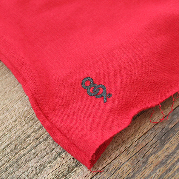Mini Keys Cut Off Terry Shorts Red - 3