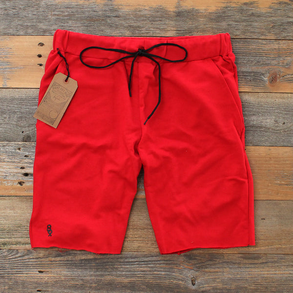 Mini Keys Cut Off Terry Shorts Red - 1